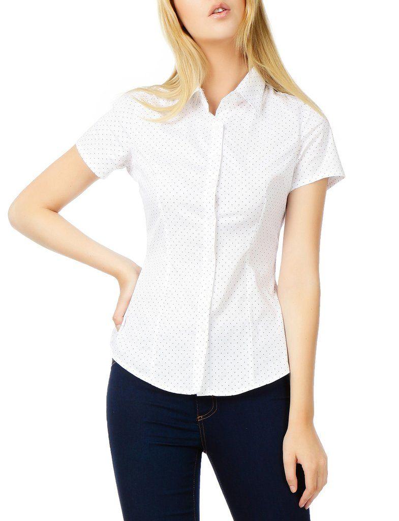 6fd0f135a2d16 LE3NO Womens Polka Dots Short Sleeve Button Down Tailored Shirt ...