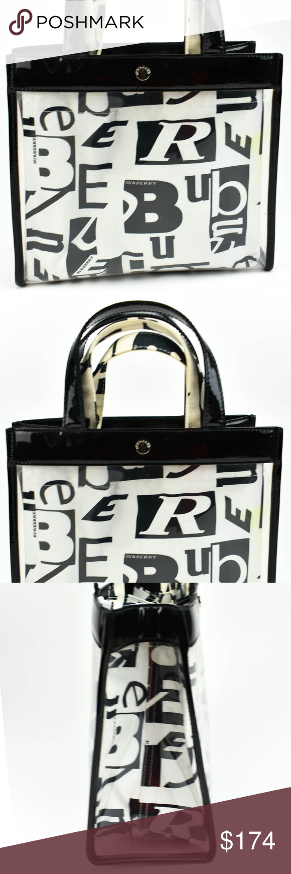 Burberry Black Leather & Logo Convertible Tote See