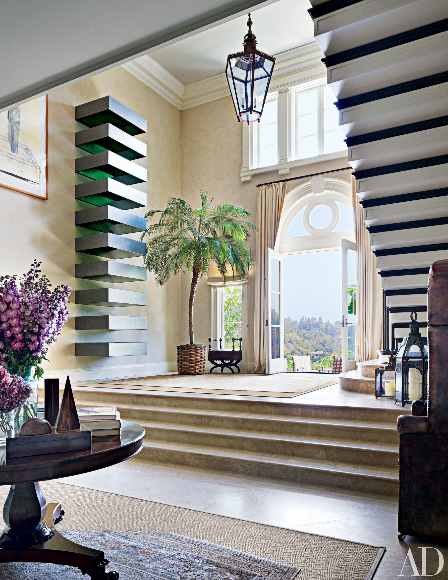 In the entrance hall of a Los Angeles home renovated by architect