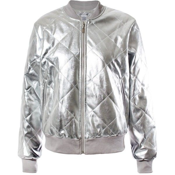 ff81c6732ac Sans Souci Silver metallic quilted vegan leather bomber ( 59) ❤ liked on  Polyvore featuring outerwear