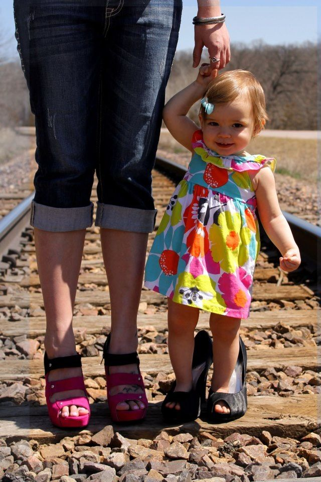 Mother daughter photo shoot / high heels / rail road track picture /  photography / 1 year old / like mother like daughter / love