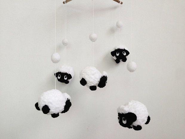 Amigurumi Sheep Baby Mobile : Baby mobile amigurumi cute counting black sheep sheep baby mobile