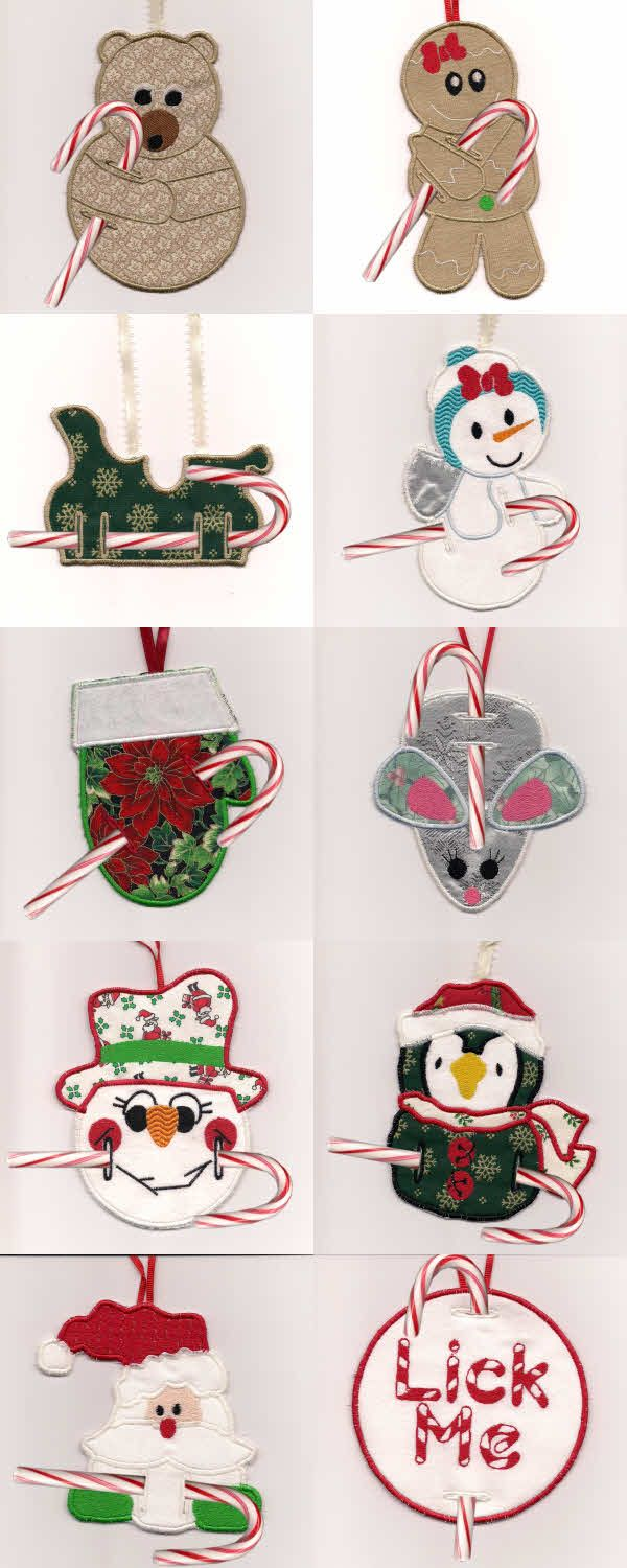 Machine Embroidery Designs In The Hoop Candy Cane Ornaments Set Machine Embroidery Christmas Machine Embroidery Designs Projects Machine Embroidery Designs