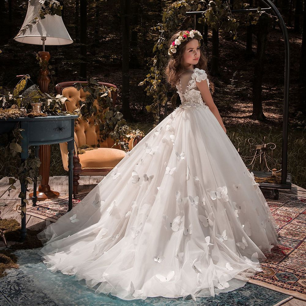 Butterfly Lace Ball Gown First communion dresses, Lace