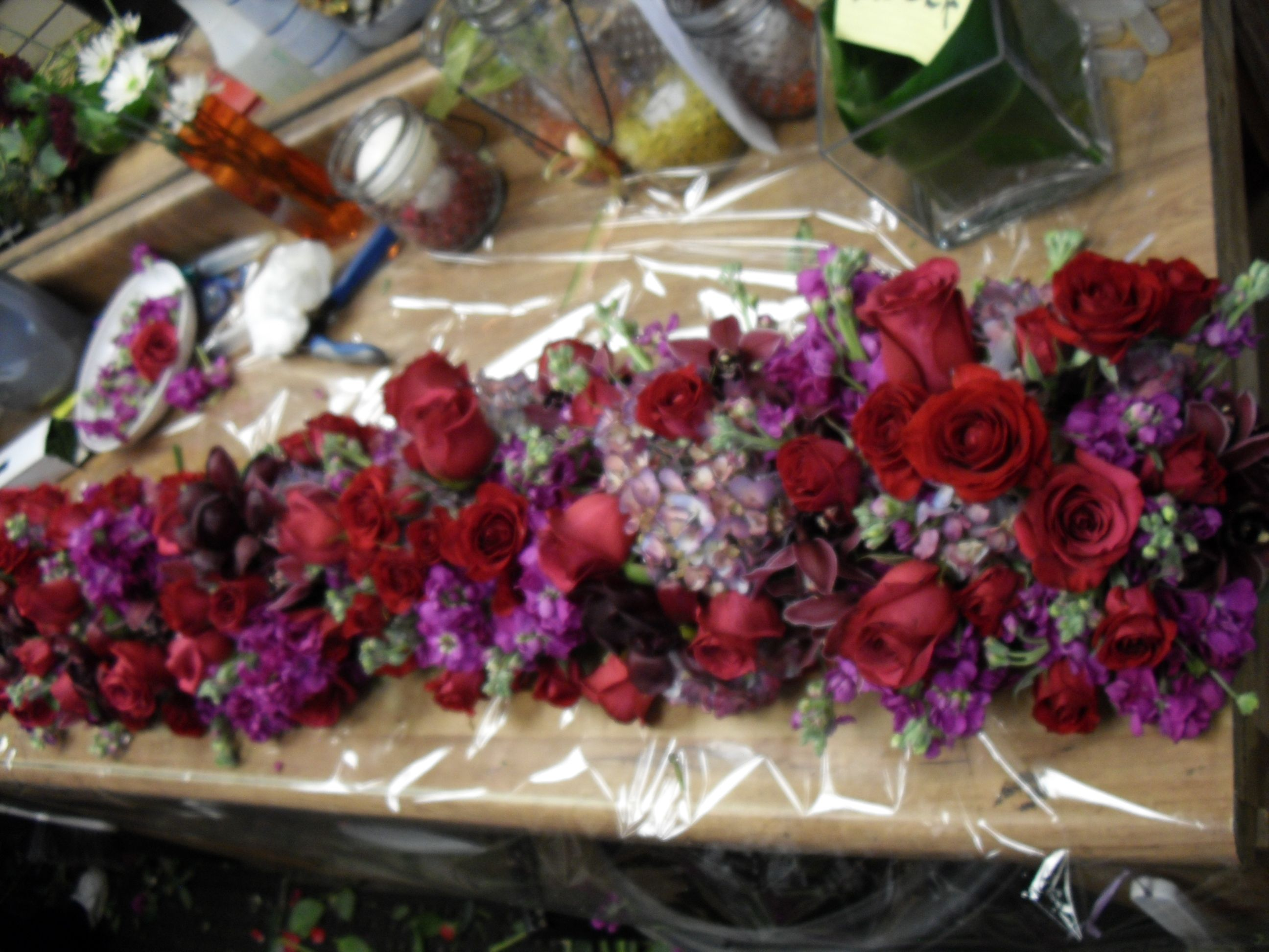 Table Centerpiece Red And Purple Flower Arrangement For Wedding