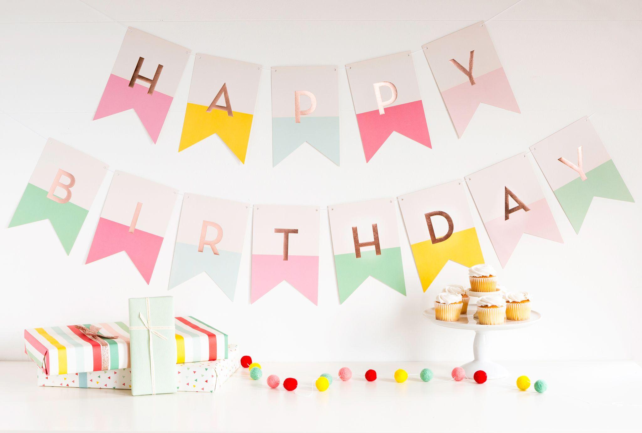 Happy Birthday Banner First Birthday Party Pastel Birthday In 2020 Pastel Birthday Pink Happy Birthday Birthday Sign
