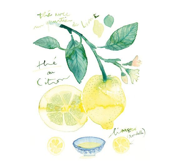 Kitchen Print Kitchen Wall Art Purple Kitchen Decor Gratitude: Lemon Tea Poster, Citrus Print, Kitchen Wall Art, Food Art