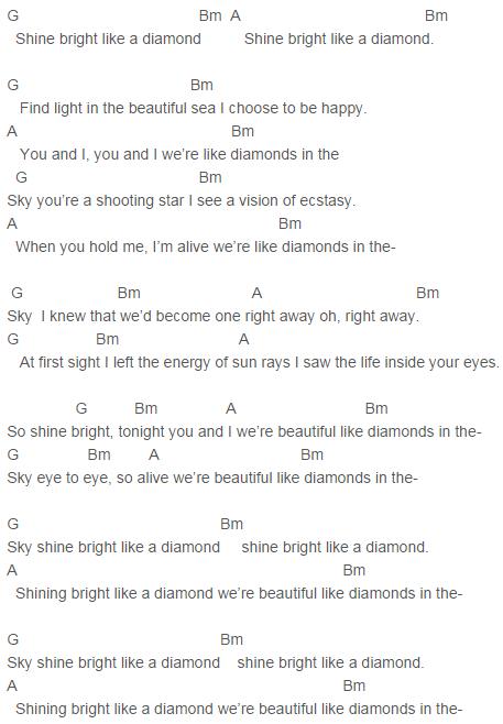 Rihanna Diamonds Chords Uke Pinterest Rihanna Diamond And Guitars