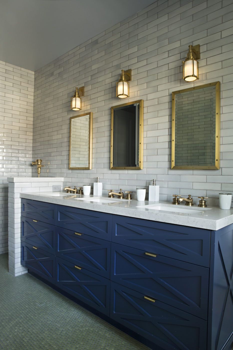 Three Sink Navy Vanity And Gold Accent Bathroom Matt