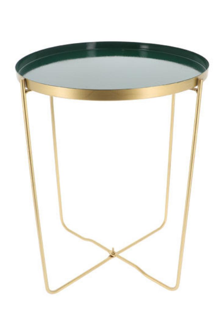 Table D Appoint Ronde Verte Et Metal Dore Elisa Rangement Maison Table D Appoint Ronde Petit Meuble