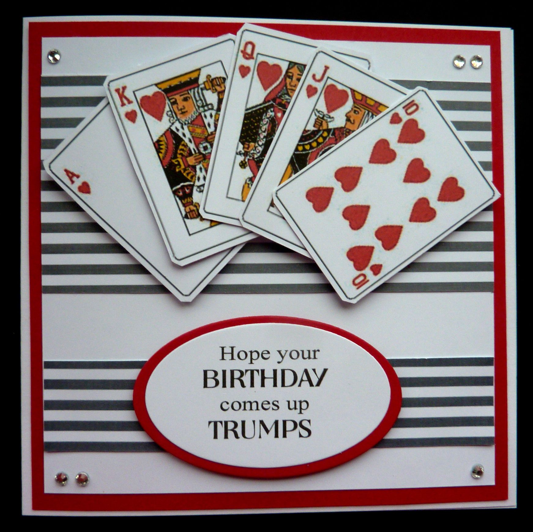 S459 Hand Made Birthday Card Using Playing Card Images