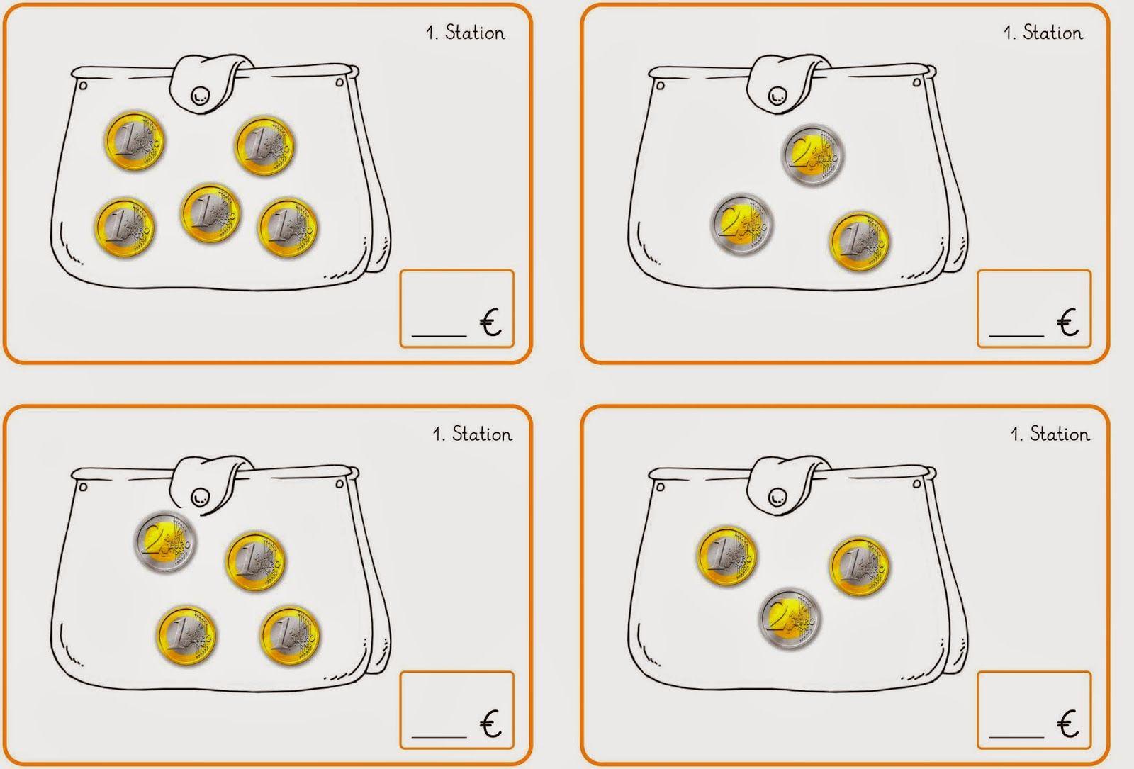 lernst bchen stationskarten 1 bis 4 zum geld mathe grundschule und rechnen mit geld. Black Bedroom Furniture Sets. Home Design Ideas