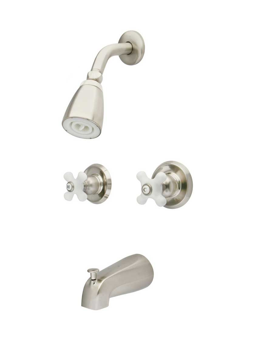 Manhattan Wall-Mount Tub and Shower Faucet with White Porcelain ...