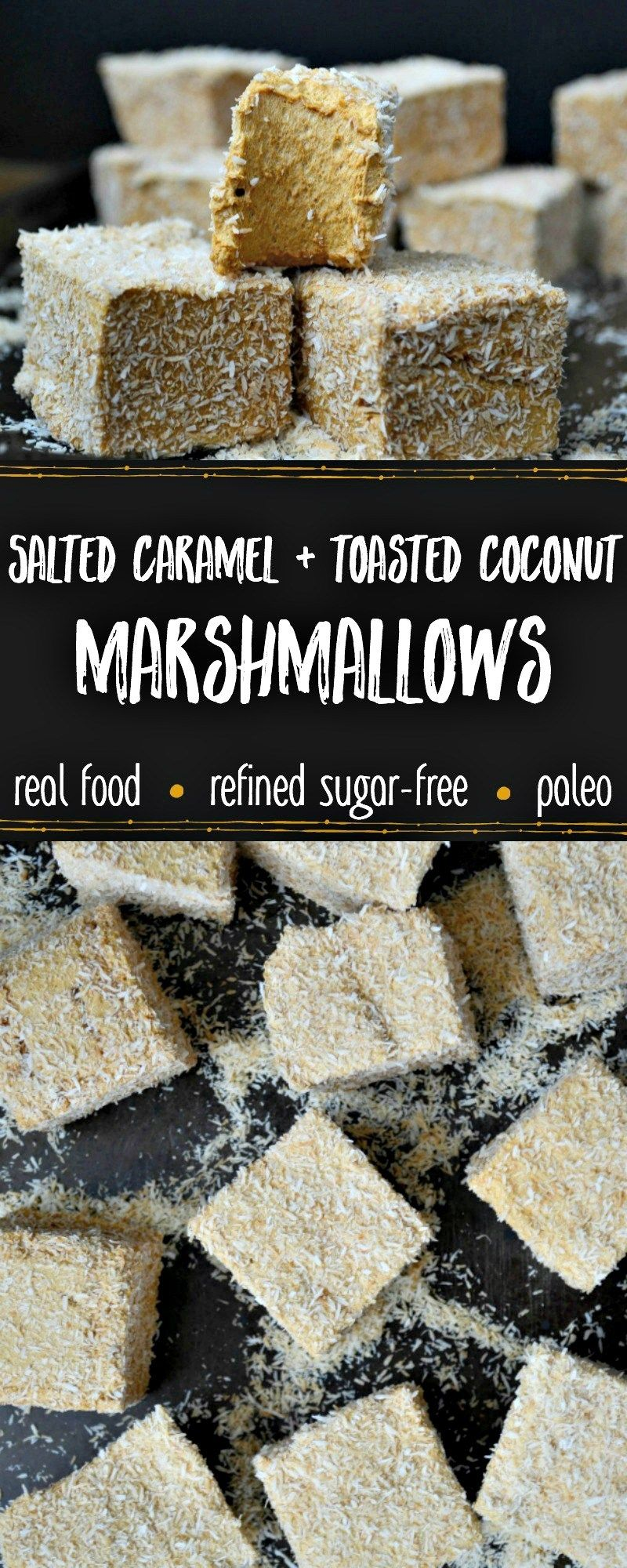 Paleo Salted Caramel & Toasted Coconut Marshmallows #marshmallows