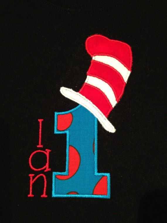 Dr Suess inspired birthday applique shirt by PeasAndPeanuts