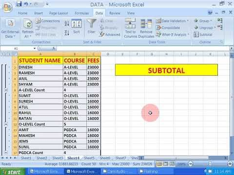 SUBTOTAL function in Excel - YouTube MS Office Pinterest