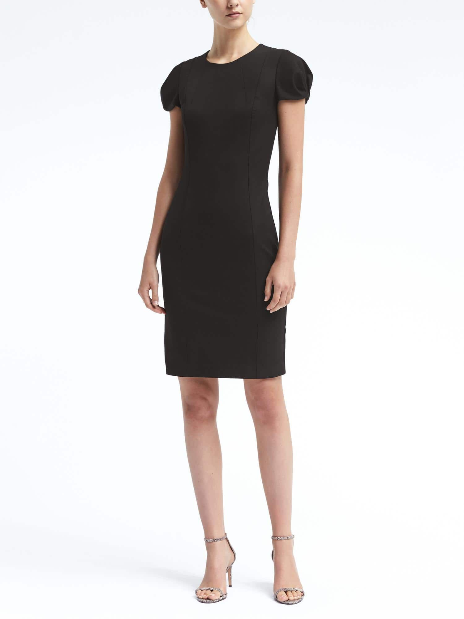 Pleated Sleeve Bi Stretch Sheath Dress Banana Republic 128 00