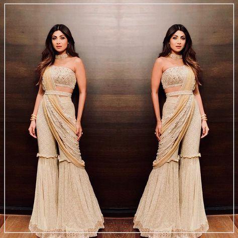 Redifining Indian Wear ... @theshilpashetty #gorgeous and #glamorous in a #Drape #New #sharara #Saree #manishmalhotralabel #traditionalyetcontemporary #manishmalhotraworld #shilpashetty #diwali #festive #look @mmalhotraworld #indiandesignerwear