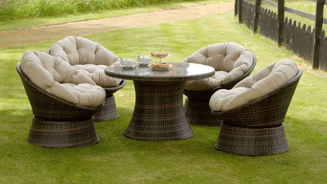 lilo leisure rattan swivel chair 4 seat round dining two tone brown garden