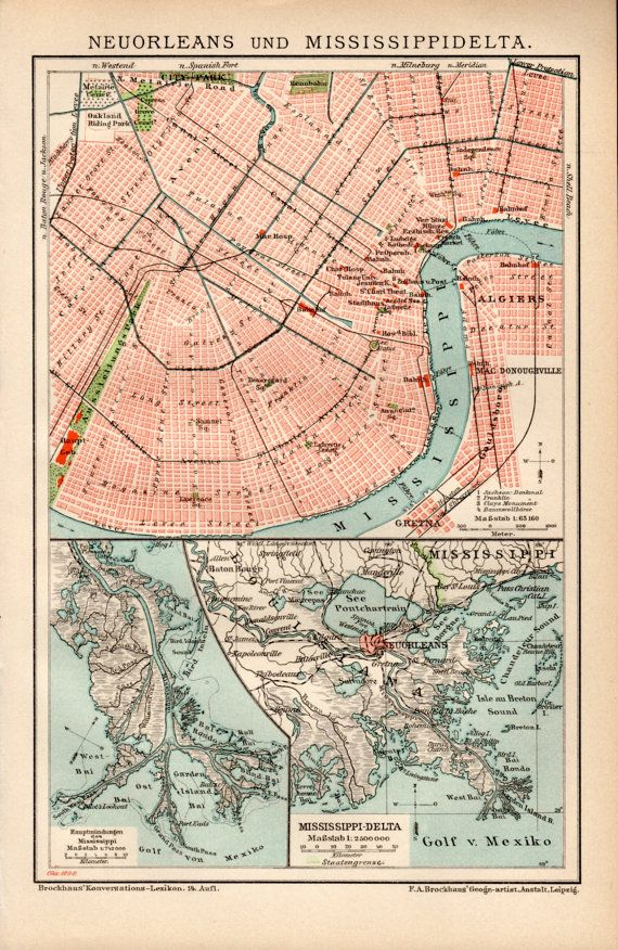 1898 New Orleans Louisiana Antique Map Vintage by Craftissimo