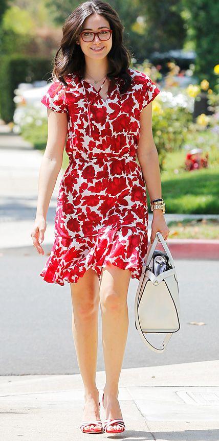 Shameless star Emmy Rossum is ravishing in red glasses and dress