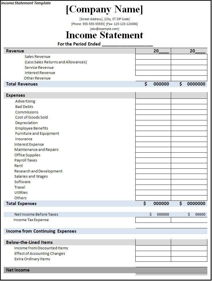 Income Statement Template  Business    Statement