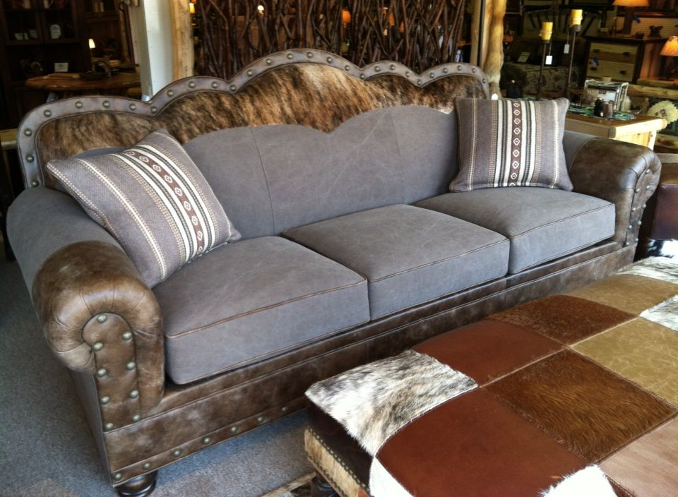 Wyatt Sofa With Gray Brown Denim Leather And Cowhide And