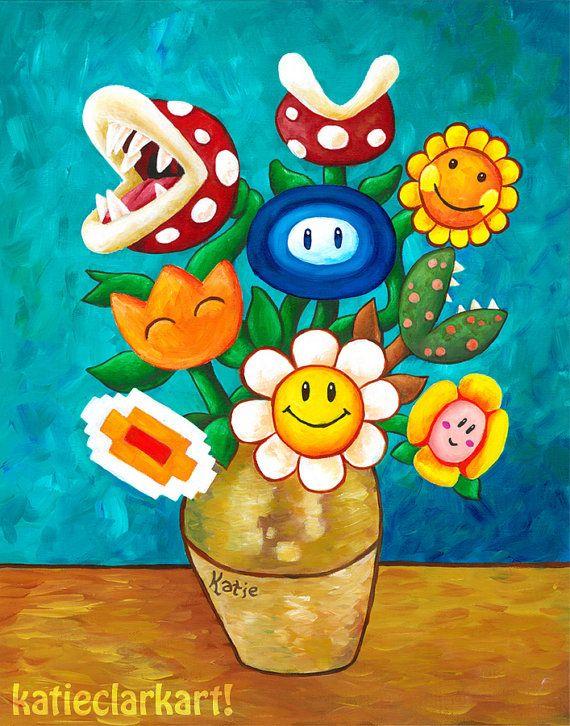 Mario Van Gogh S Flower Vase Nintendo Print Alternative Vincent