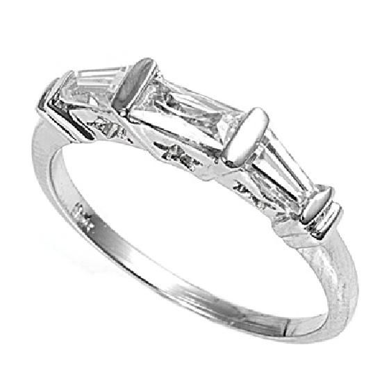 baguettes cubic zirconia wedding band ring guard sterling