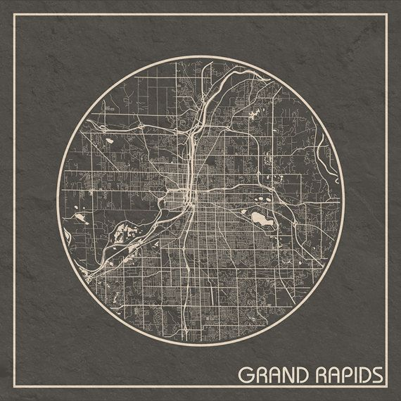 Grand Rapids MI SQUARE Map Grand Rapids Michigan Poster City Map