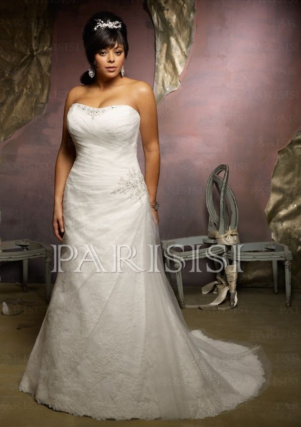 Plus Size Bridal Dress Crystal Beading on Tulle over Lace price USD
