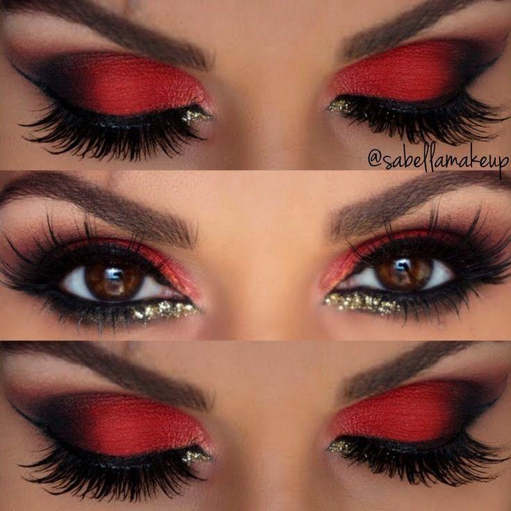 Augen Lidschatten rot schwarz /2s3Nma1 - Dress Models -  Looks kylie jenner   -Make-up Augen Lidsch