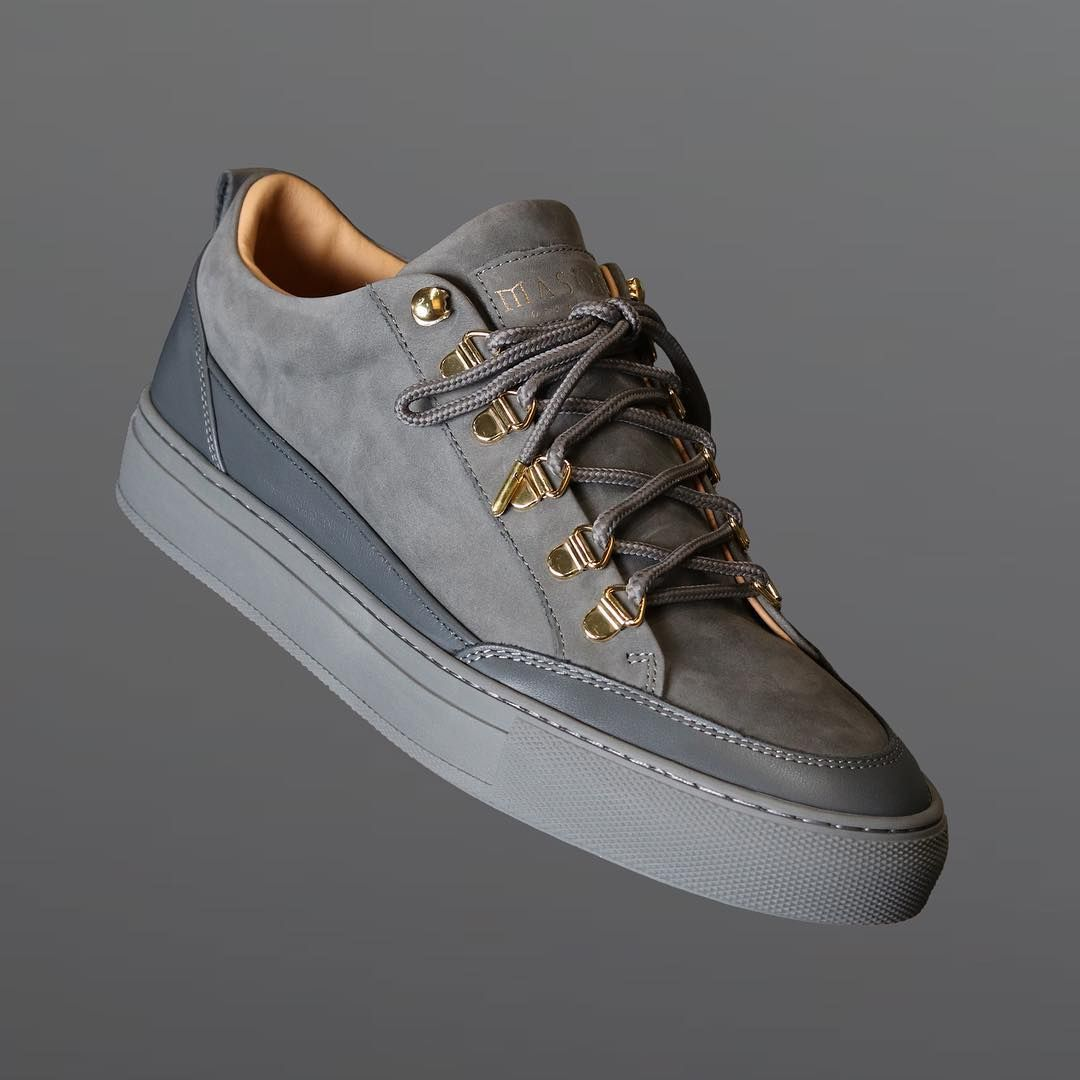 Mason Garments x The Tia Leather Nubuck Grey   Nick Kicks ... 8c882f264a