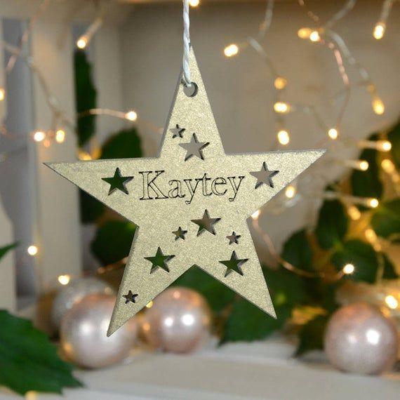 Christmas Gift Tag Christmas Star Decoration Personalised Christmas Star