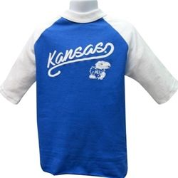c61e778c7 Kansas Jayhawks Girls Youth Glitter Raglan T-Shirt . . . . . Short-sleeve,  royal t-shirt with white raglan sleeves and collar Kansas script with  tailsweep ...