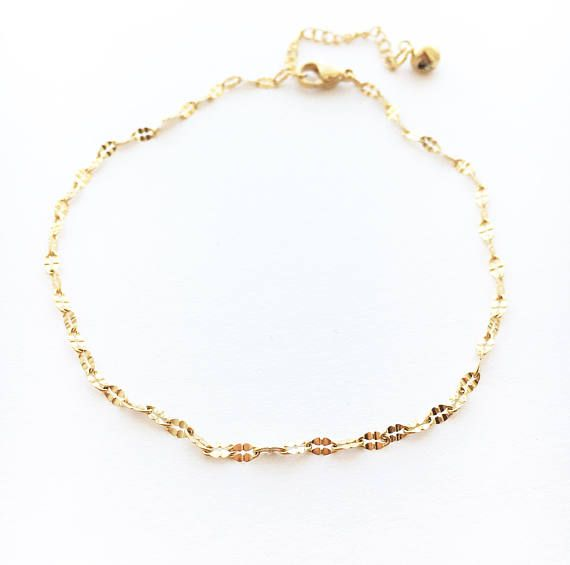 bead anklet filled minimal dainty gold pin