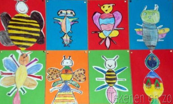 Iets Nieuws Tekenen en zo: Check dit insect. Symmetrisch. Groep 3/4 | Thema #JE88