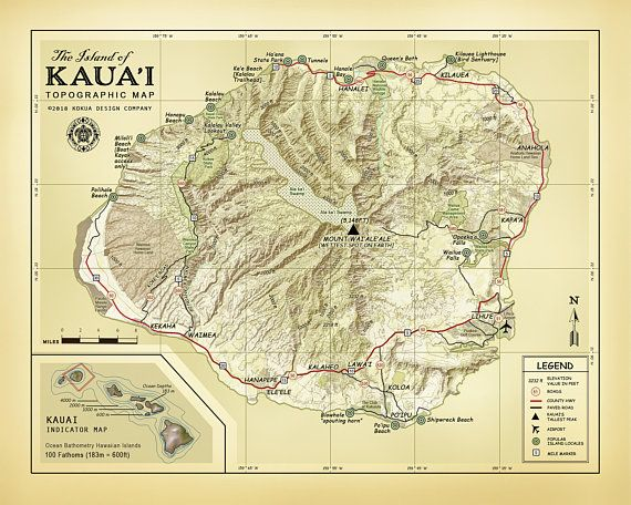 "The Island of Kauai 11 x 14 ""Vintage Inspired"" Topographic map"