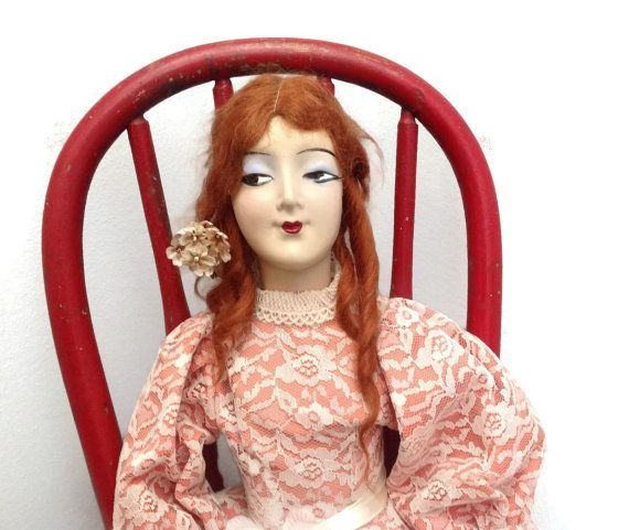 Vintage Boudoir Doll with red mohair and by Prairiegirltreasure, $100.00 #boudoirdoll