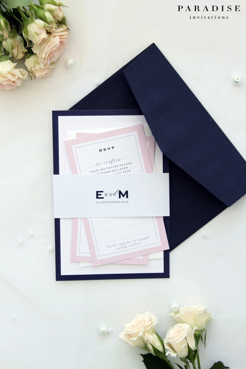 Elizabeth Elegant Navy And Blush Wedding Invitation Sets Modern