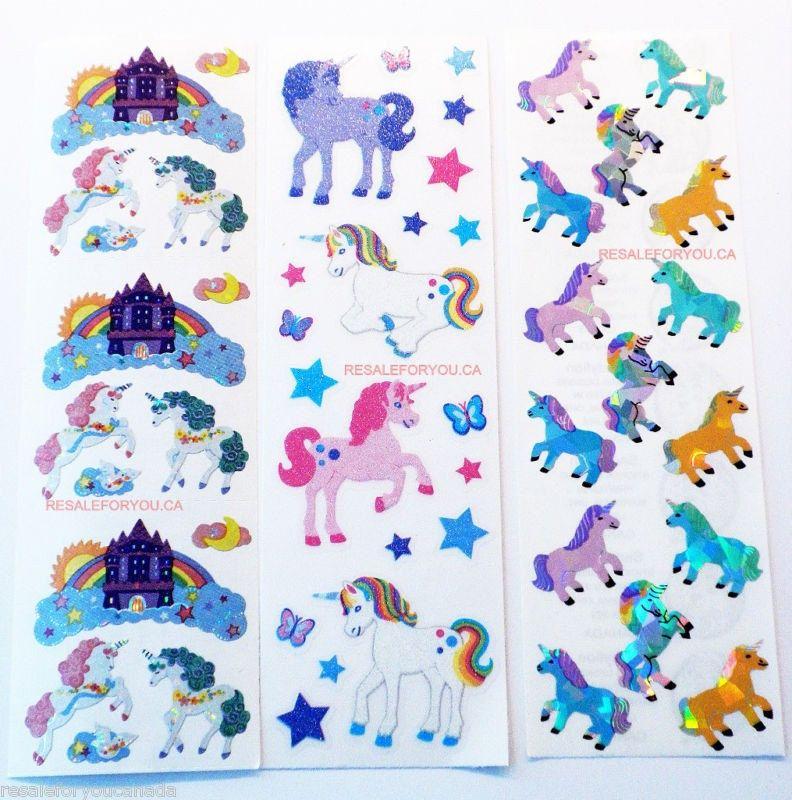 50 Sandylion Unicorn Scrapbooking Stickers (3 Sheets). $2.49, via Etsy.