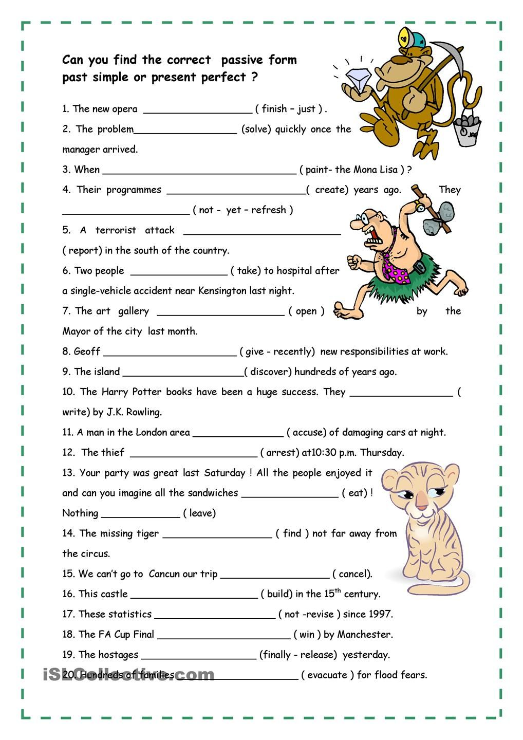 Worksheets Active Vs Passive Voice Worksheet passive voice english children pinterest worksheets active present perfect or past simple daily routines writing pre intermediate high school
