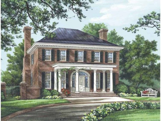 Classical Style House Plan 4 Beds 4 5 Baths 3280 Sq Ft Plan 137 334 Colonial House Plans Brick Exterior House Traditional House Plans