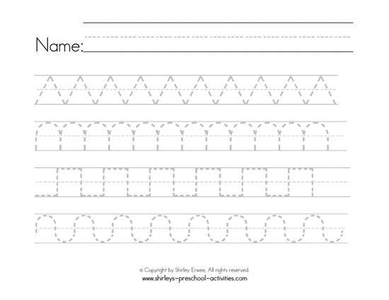 Writing Patterns Writing Worksheets, Cursive Writing Worksheets,  Preschool Worksheets