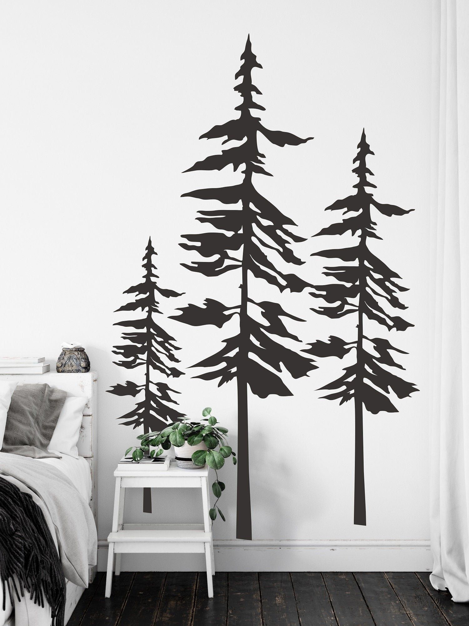 Pine Trees Wall Decal Forest Wall Art Pine Tree Decor Set Of 3 Pine Trees Sticker Nature Landscape Wall Decor Woodland Home Decor Sb45 Landscape Walls Wall Decals Tree Wall