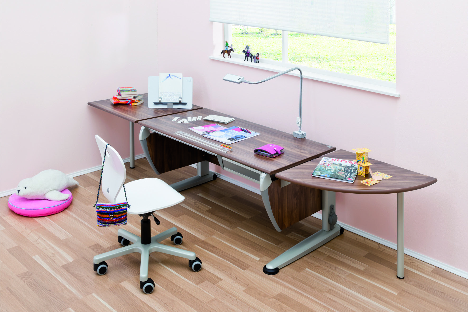 A Moll Sprinter Ergonomic Desk In Walnut Finish With Extensions