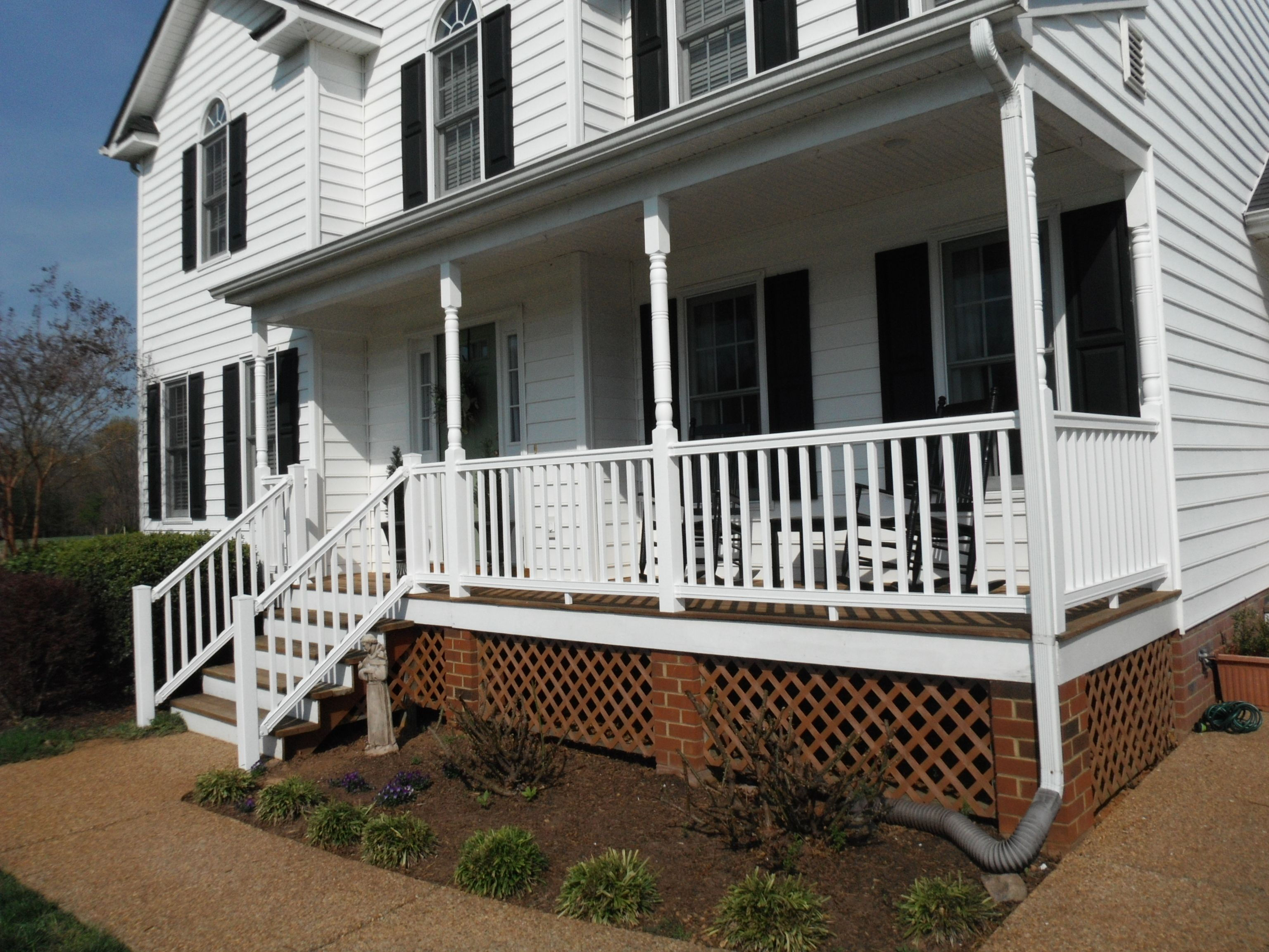 Before and after photos of new composite vinyl front porch ...