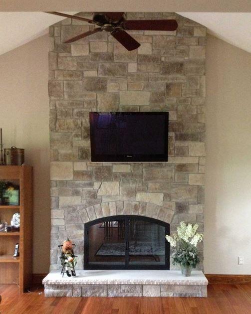 Elegant Stone Veneer Fireplace Pictures