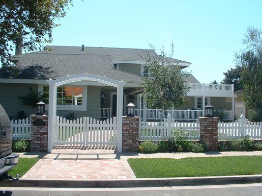 vinyl picket fence front yard. White Vinyl Scalloped Picket Fence \u0026 Arbor With Double Gate | Yelp. Brick FenceFront Yard Front