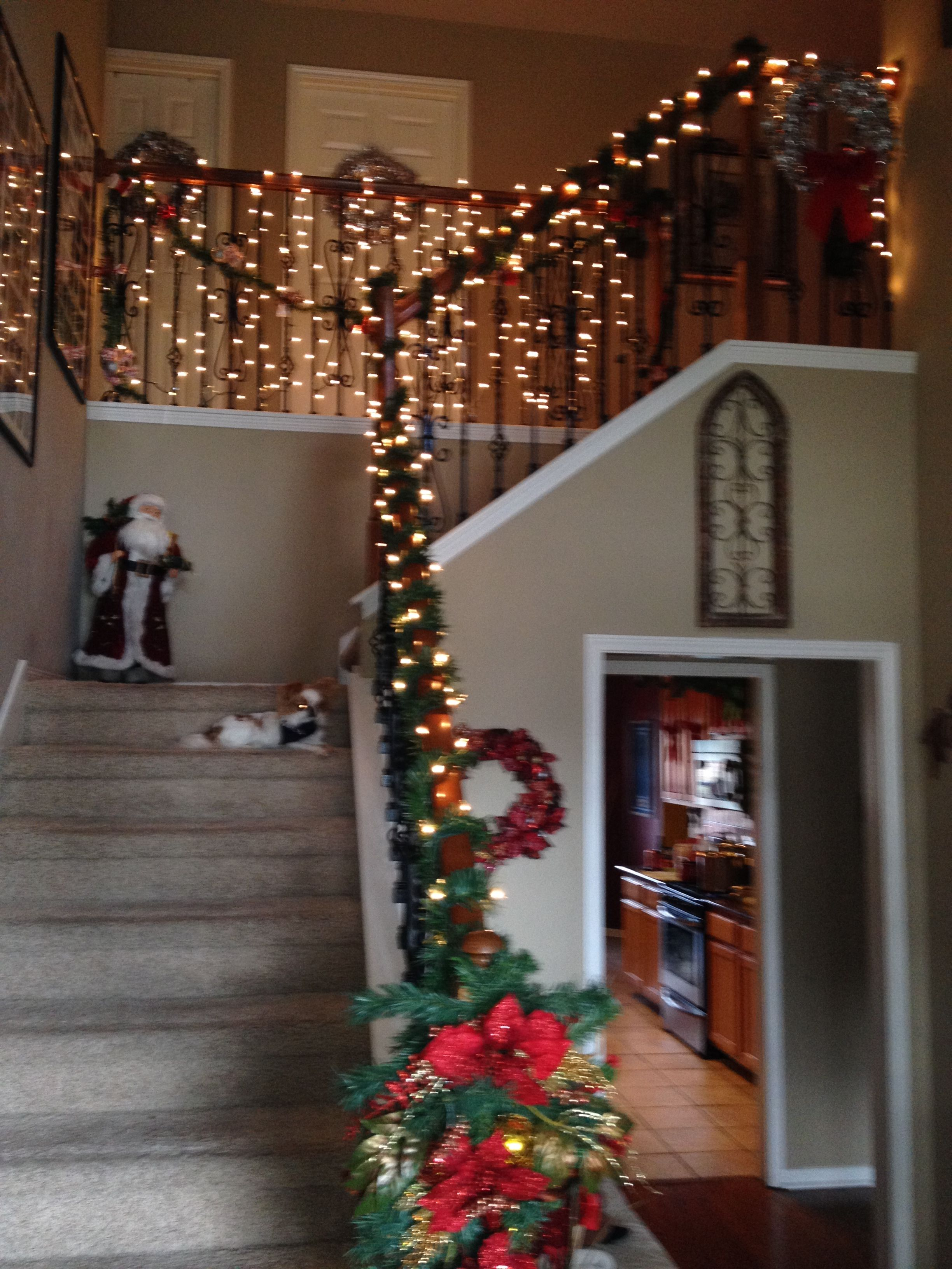Decorated Banister for Christmas lighting the way for Santa